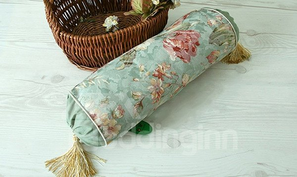 Pastoral Style Flower Print Green Candy Shape Pillow