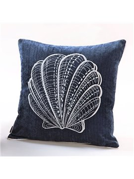 Graceful Scallop Embroidery Blue Polyester Throw Pillow