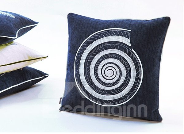 Fabulous Conch Embroidery Blue Polyester Throw Pillow