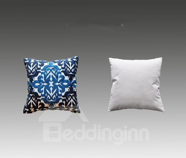 Special Design Beautiful Pattern Blue Cotton Throw Pillowcase