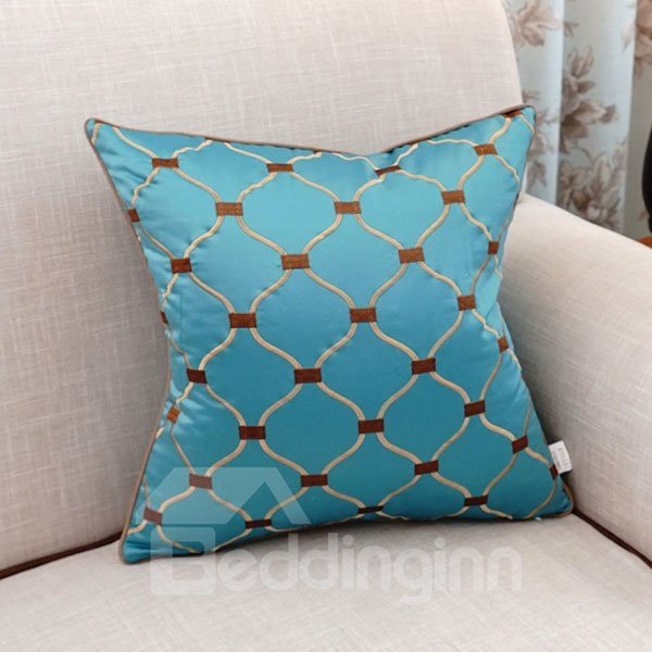 Adorable Concise Embroidery Blue Polyester Throw Pillow
