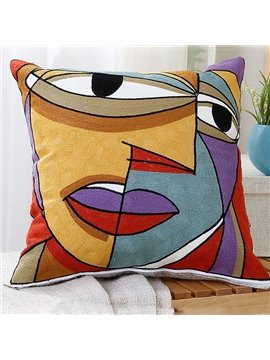 Unique Colorful Abstract Face Print Throw Pillow