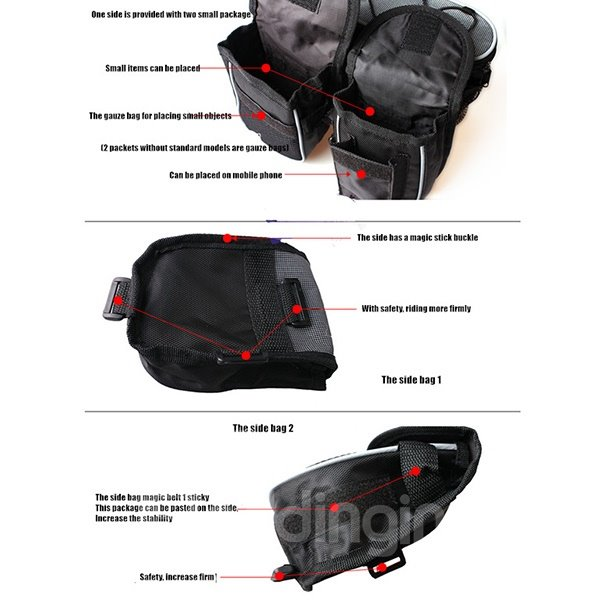 Waterproof Multi-function Bike Touchscreen Double Trunk Front Frame Tube Bag