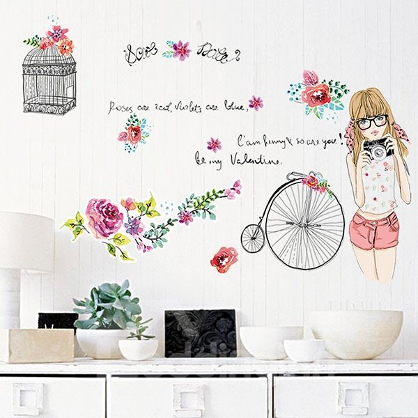 Beautiful Girl and Flowers Wall Stickers for Home Decoration