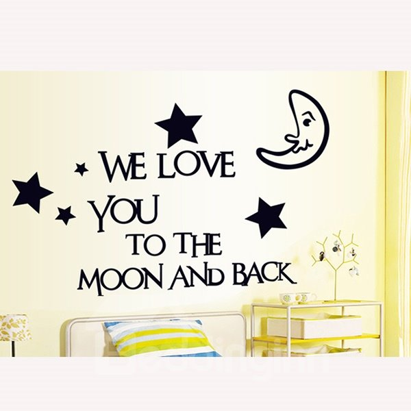 Black Simple Moon and Star Wall Stickers for Home Decoration
