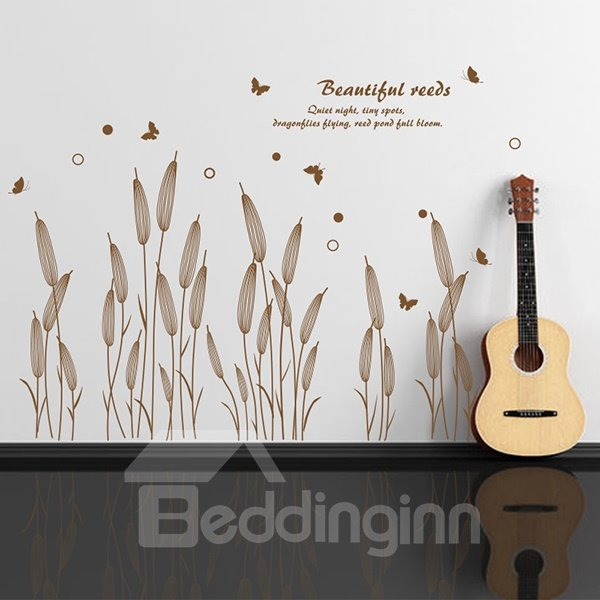 Beautiful Reeds and Letters Wall Stickers for Home Decoration
