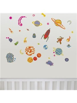 Cute Spacecraft Wall Stickers for Home Decoration
