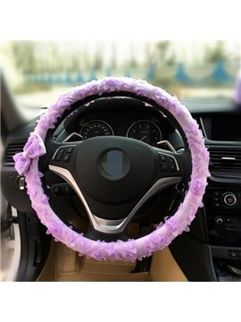 Lovely And Cute Solid With Bow-Knot Steering Wheel Cover
