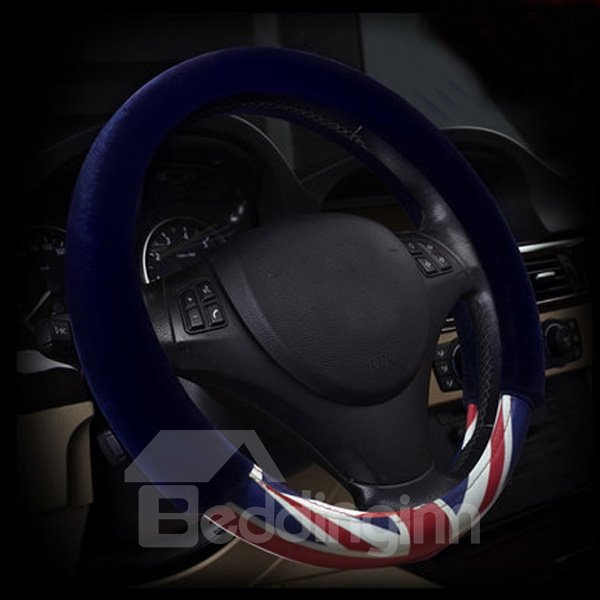 Deep Blue And Union Jack Design Most Comfortable Steering Wheel Cover