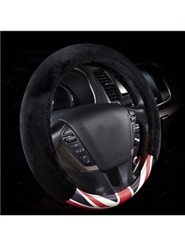New Arrival Leather Material With Black Plush Steering Wheel Cover