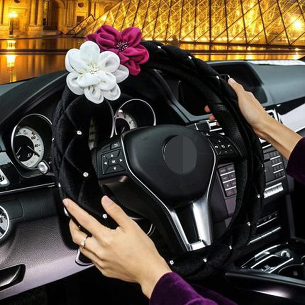 Classic Diamond Craft With White And Purple Rose Steering Wheel Cover