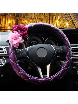 Mysterious Purple With Roses Flower Steering Wheel Cover