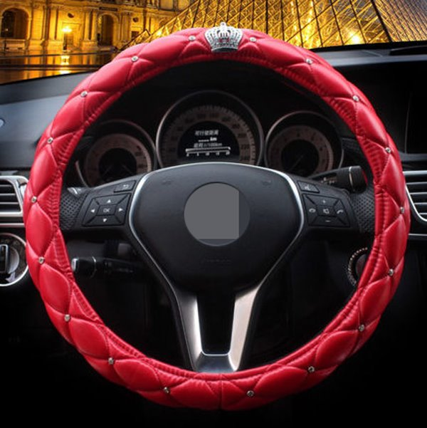 Super Cute And Bright Color Leather Material Steering Wheel Cover