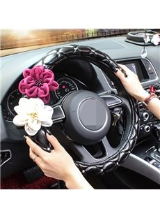 Modern Roses Pattern With Handmade Diamond Crafts Steering Wheel Cover