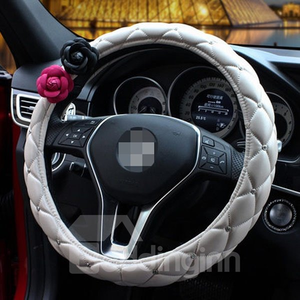 Attractive Fashion Solid Style With Classic Flower Steering Wheel Cover