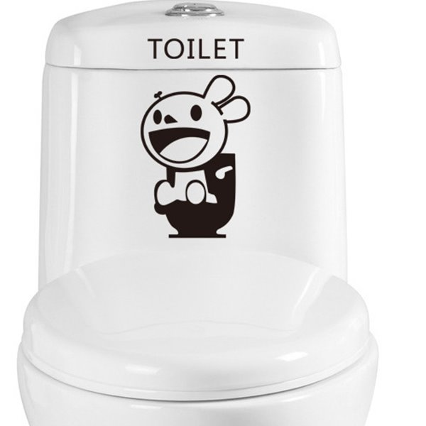 Simple Happy Rabbit Toilet Wall Stickers for Home Decoration