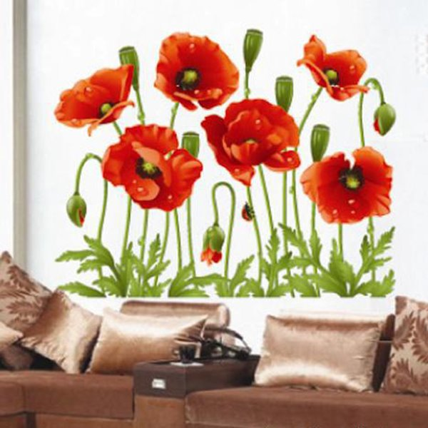 Beautiful Orange Decorative Flowers Pattern Wall Stickers