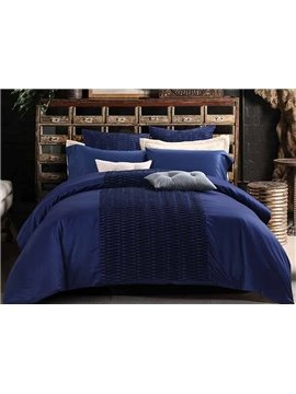 New Glamorous Stereoscopic Embellishment Blue 4-Piece Polyester Bedding Sets