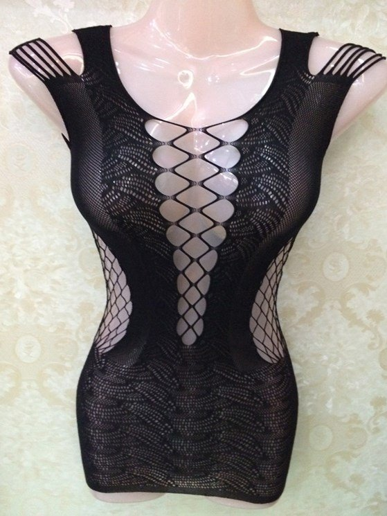 New Arrival Charming Sexy Black Hollow Chemises