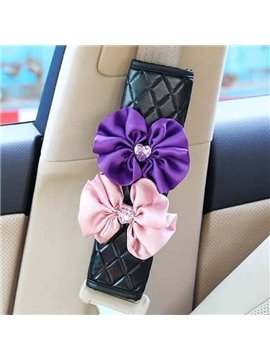 Fashionable And Leather Material With Rose Seat Belt Covers