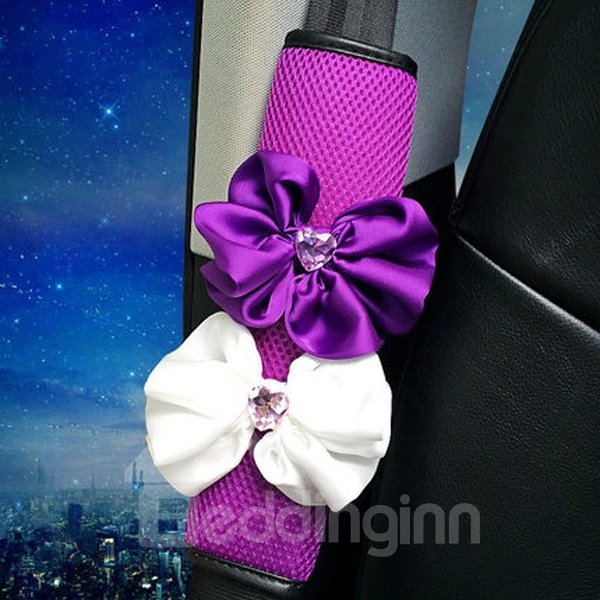 Magic Purple With Two Beautiful Flower Seat Belt Covers