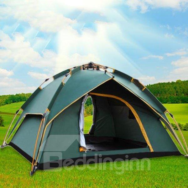 3-4 Person Dark Green Polyester Waterproof One Bedroom Tent