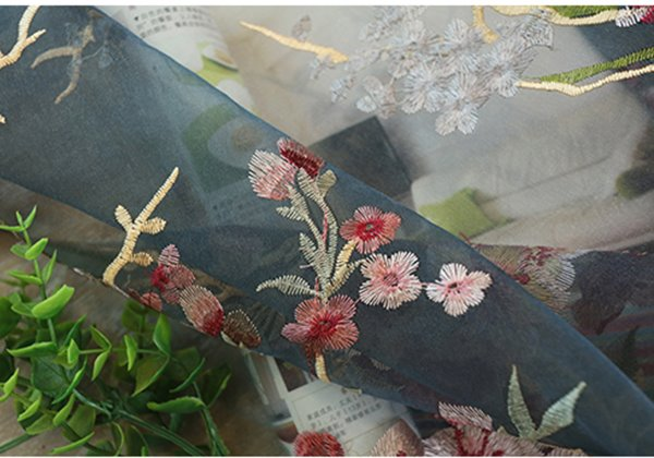 Pastoral Style Embroidered Flowers Pattern Blue Custom Sheer Curtain