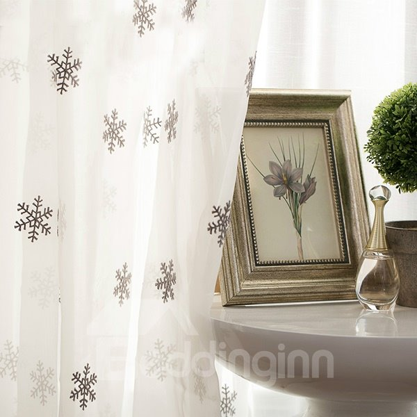 Embroidered Snow Flacks Pattern Custom Sheer Curtain