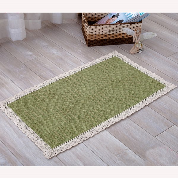 Simple Pure Green Cotton Home Decorative Doormat