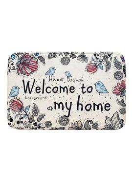 Decorative Coral Fleece Flowers and Birds Pattern Doormat