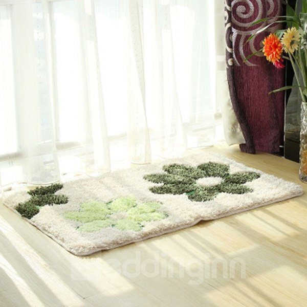 Simple Green Flower Pattern Home Decorative Doormat