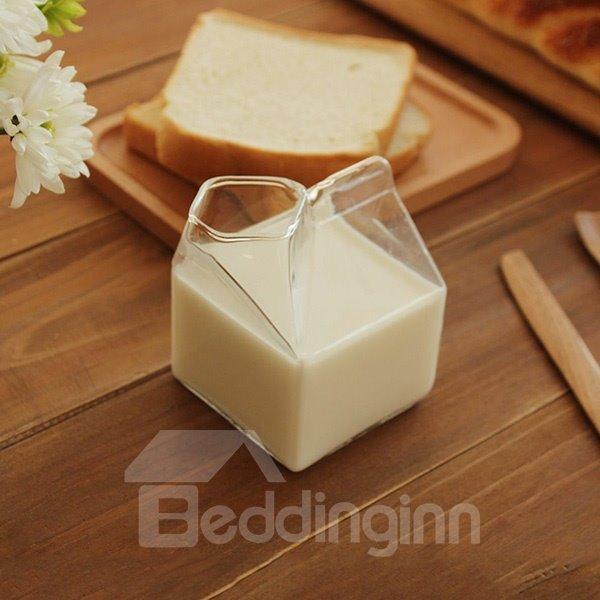 Simple Transparent Square Glasses Milk Cup