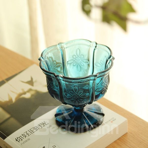 Hot Sale Blue Flower Ice Cream Goblet Glasses Cup 12150150