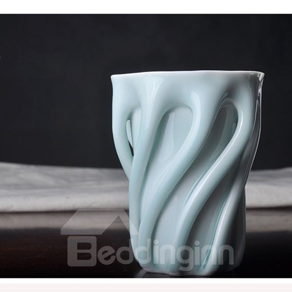 Blue Creative Ceramic Screw Pattern Coffee Mug