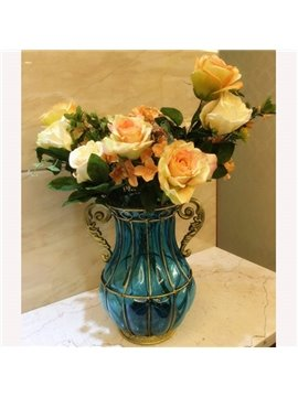 Simple European Style Transparent Color flower Vases for Desktop Decoration