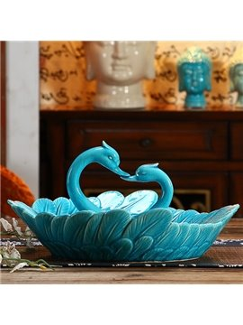 Simple European Style Blue Swan Fruit Dish Desktop Decoration