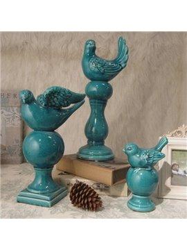 Blue Mediterranean Sea Style Bird Desktop Decoration
