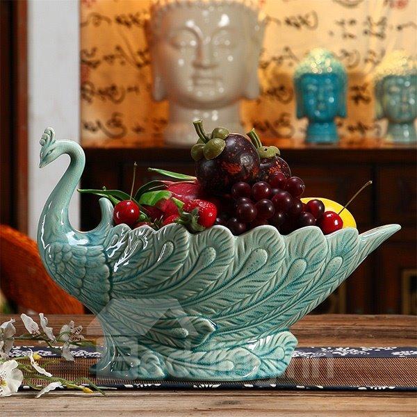 Creative Blue European Style Peacock Fruit Dish Desktop Decoration