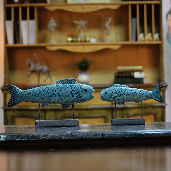 Creative Village Style Blue Ceramics Fishes Desktop Decoration