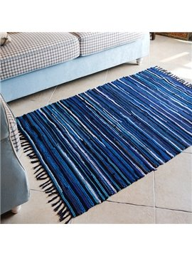 Blue Stripes Area Rug for Living Room Decoration
