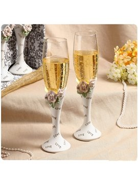 New Arrival Flower Shampagne Wine Glasses for Wedding Decoration