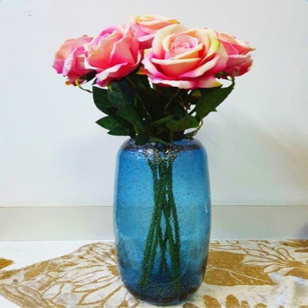 Creative Simple Fashion Glass Blue Decorative Flower Vase