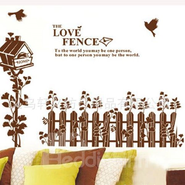 New Arrival Simple Love Fence and Bird Wall Sticker