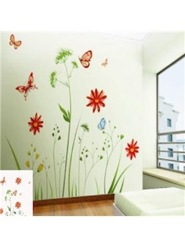 Simple Style Water Plants and Butterflies Pattern Wall Sticker