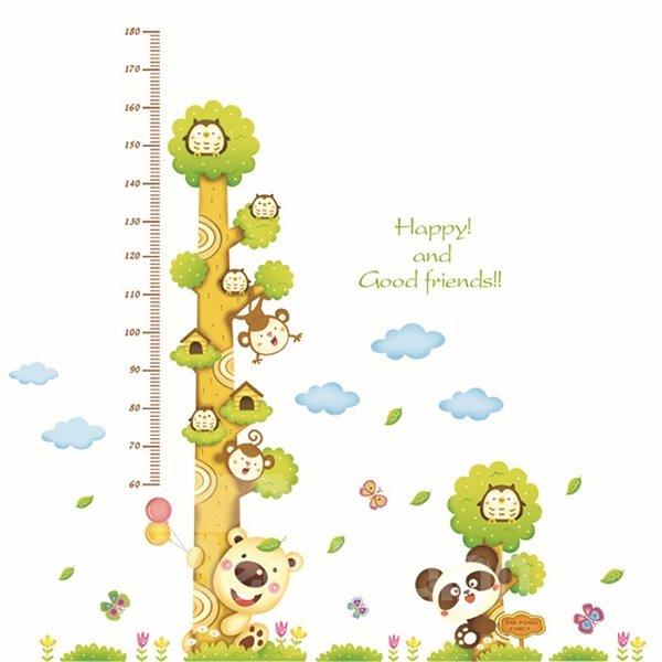 Happy Animal Tree Height Measurement Kids Wall Sticker