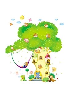 Green Cartoon Tree House Wall Stickers for Children Room Decoration