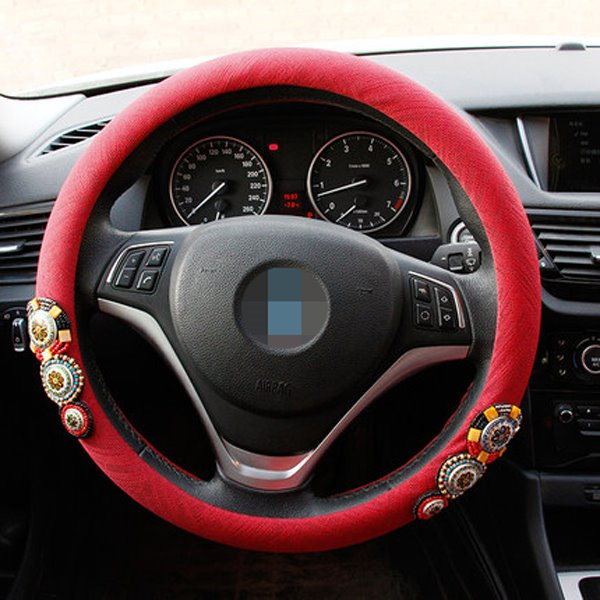 Bohemian Style Beautiful Red Solid Color Steering Wheel Cover