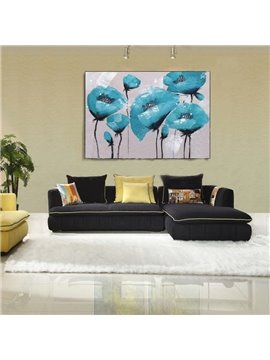 New Arrival Blue Flower Oil Painting Wall Art Prints