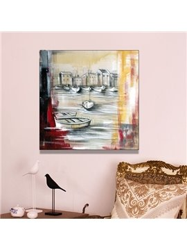 Amazing Boat and River Hand Painted Oil Painting