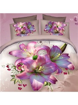 Excellent Pink Lily Print 4-Piece 100% Cotton 3D Fitted Sheet